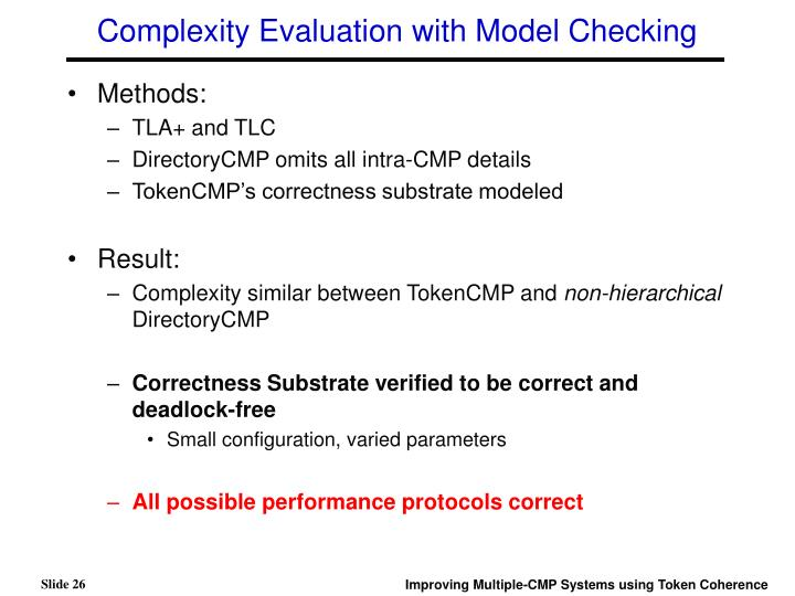 Complexity Evaluation with Model Checking