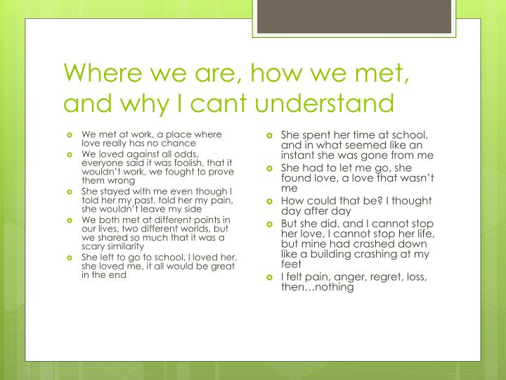 Where we are, how we met, and why I cant understand