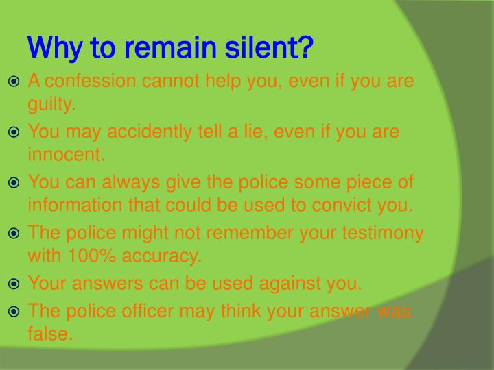 Why to remain silent?