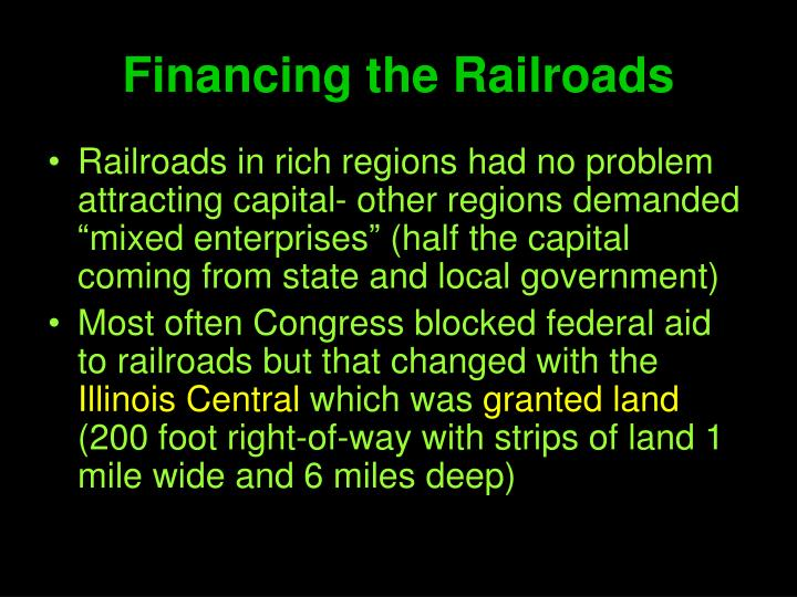 Financing the Railroads