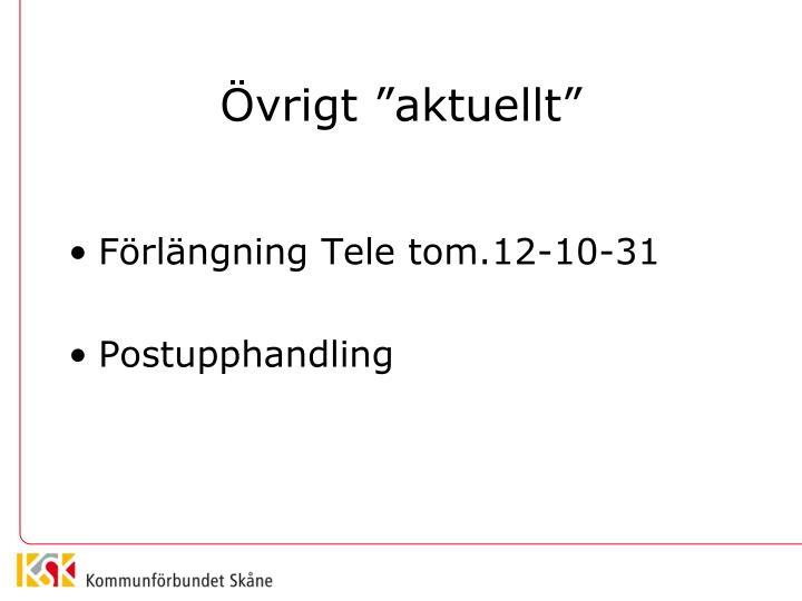 """Övrigt """"aktuellt"""""""