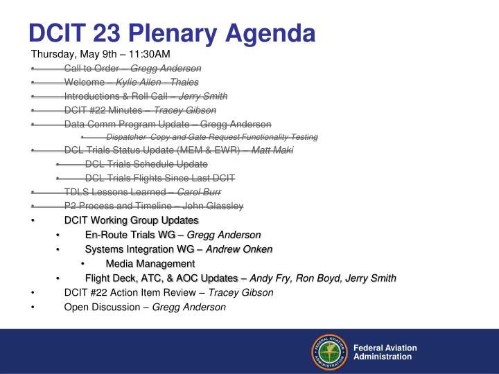 DCIT 23 Plenary Agenda