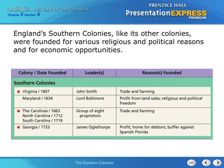 England's Southern Colonies, like its other colonies, were founded for various religious and political reasons and for economic opportunities.