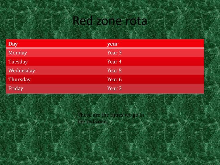 Red zone rota