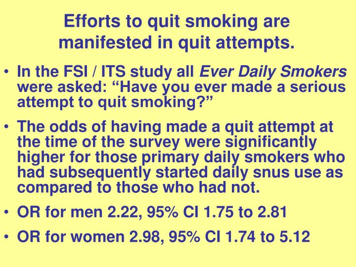 Efforts to quit smoking are manifested in quit attempts.