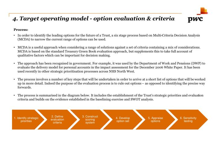 4. Target operating model - option evaluation & criteria