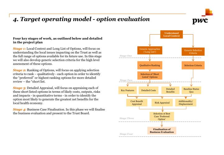 4. Target operating model - option evaluation