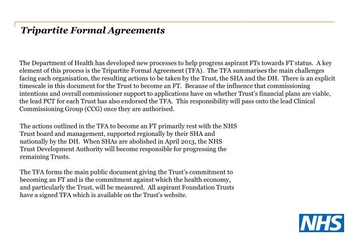 Tripartite Formal Agreements