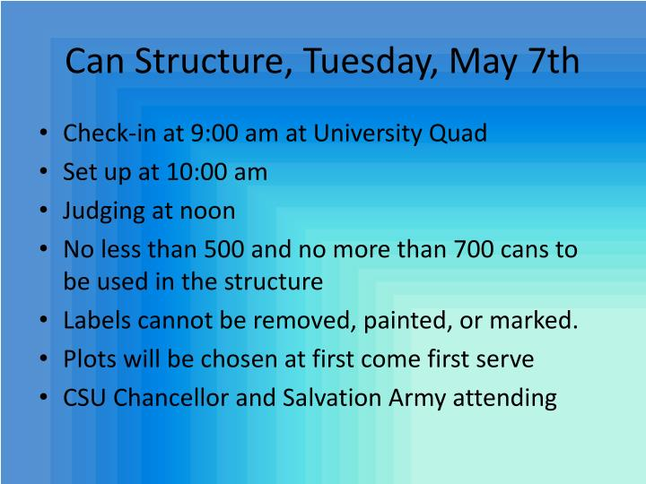 Can Structure, Tuesday, May 7th