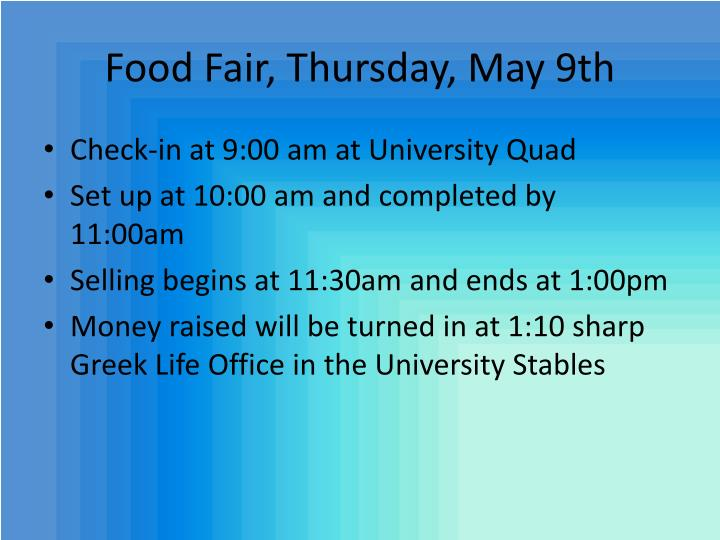 Food Fair, Thursday, May 9th
