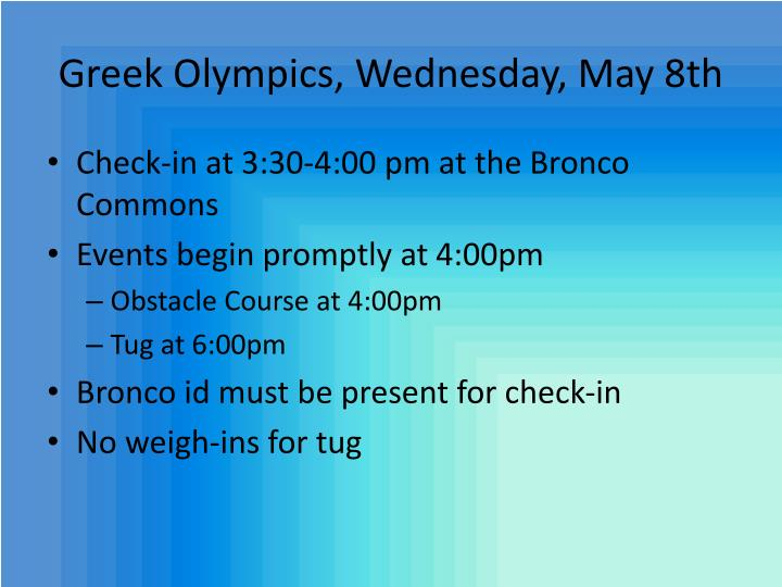 Greek Olympics, Wednesday,