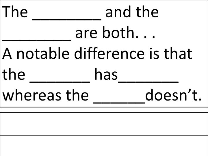The ________ and the ________ are both. . .           A notable difference is that the _______ has_______ whereas the ______doesn't.