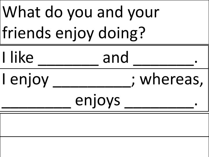 What do you and your friends enjoy doing?