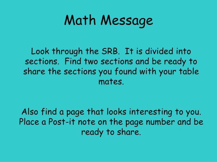 Math message