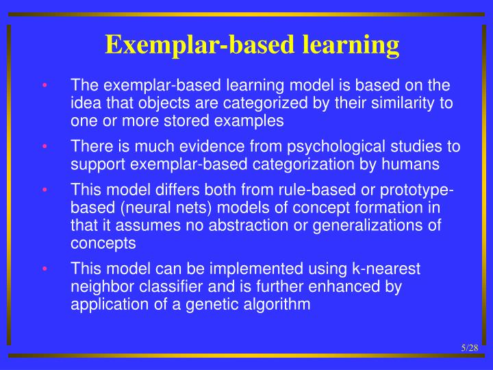 Exemplar-based learning