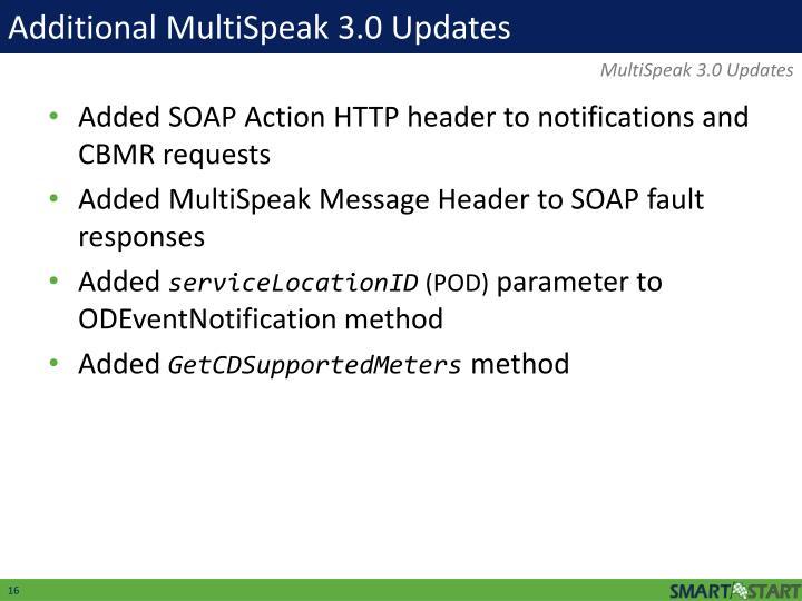 Additional MultiSpeak 3.0 Updates