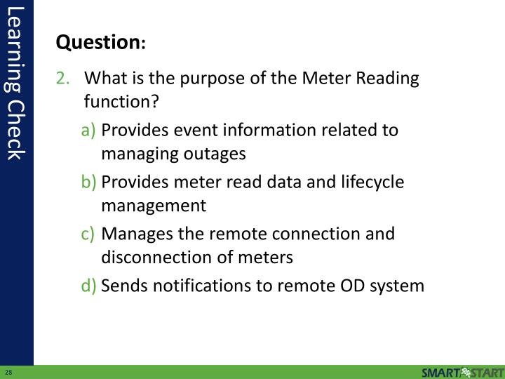 What is the purpose of the Meter Reading function?