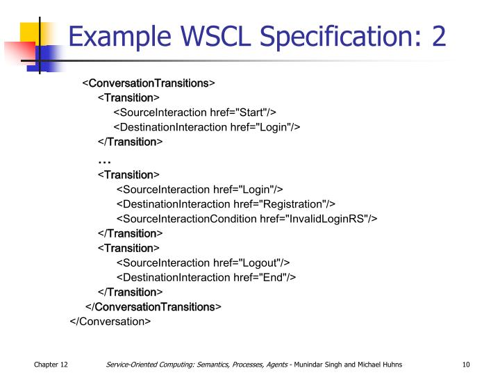 Example WSCL Specification: 2