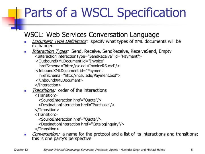 Parts of a WSCL Specification