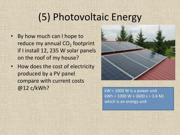 (5) Photovoltaic Energy