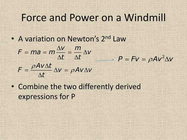 Force and Power on a Windmill