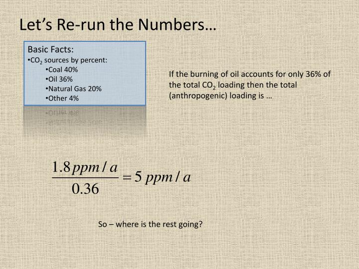 Let's Re-run the Numbers…