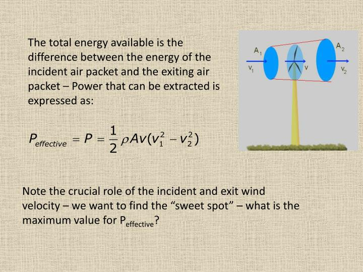 The total energy available is the difference between the energy of the incident air packet and the exiting air packet – Power that can be extracted is expressed as: