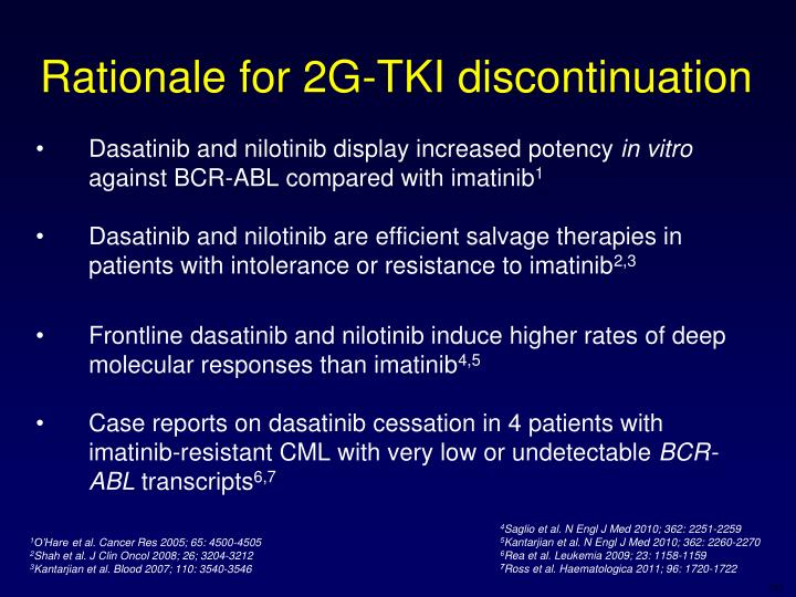 Rationale for 2G-TKI discontinuation