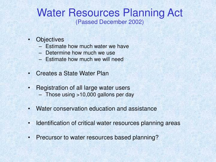 Water Resources Planning Act