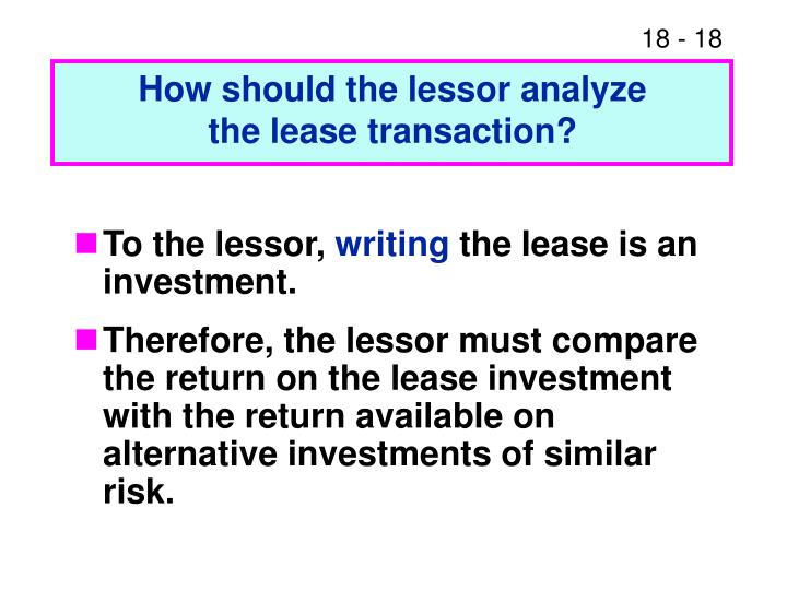 How should the lessor analyze
