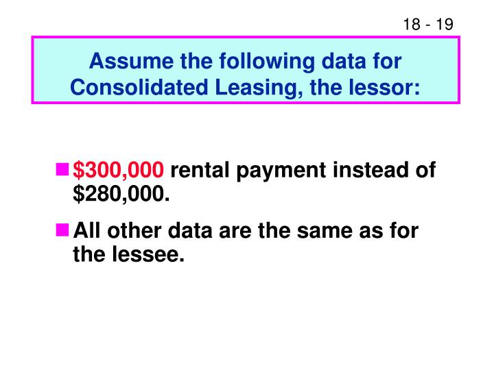 Assume the following data for Consolidated Leasing, the lessor: