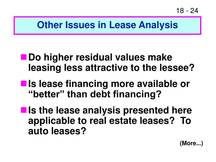 Other Issues in Lease Analysis