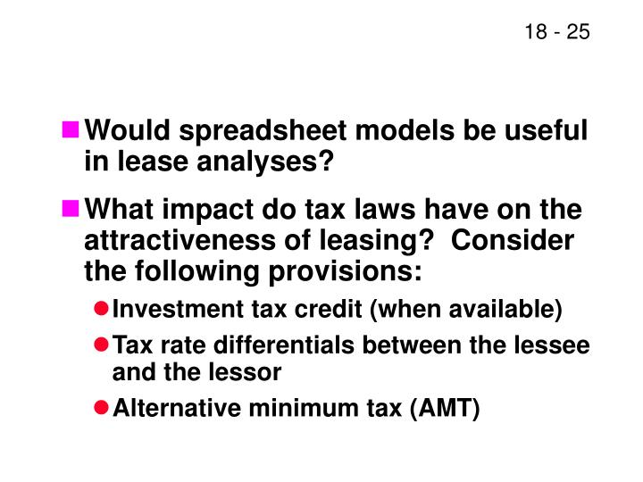 Would spreadsheet models be useful in lease analyses?