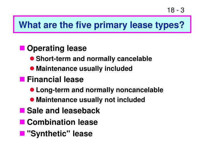 What are the five primary lease types?