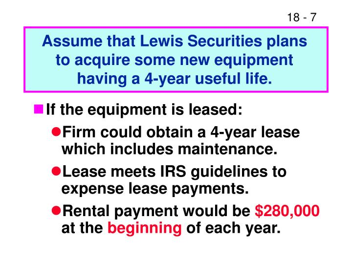 Assume that Lewis Securities plans