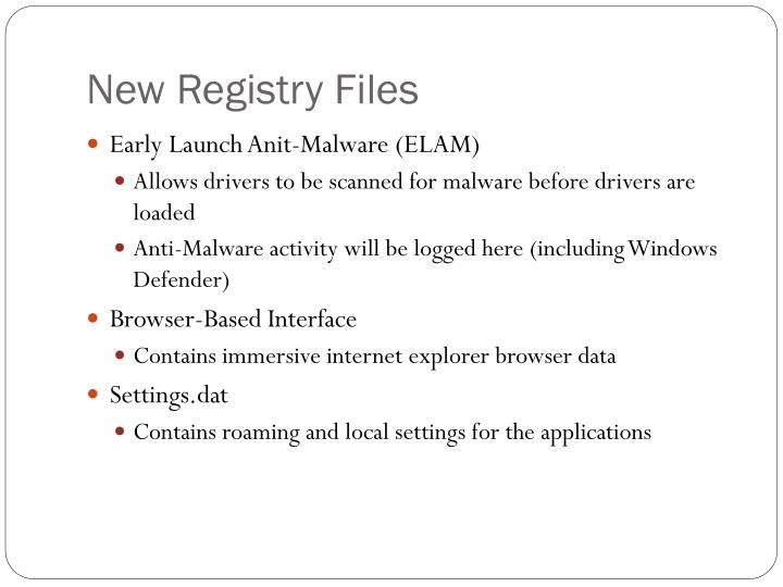New Registry Files