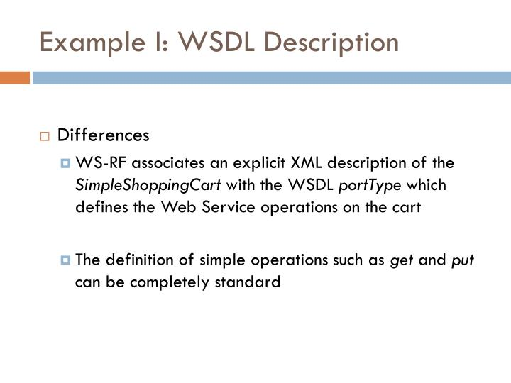 Example I: WSDL Description