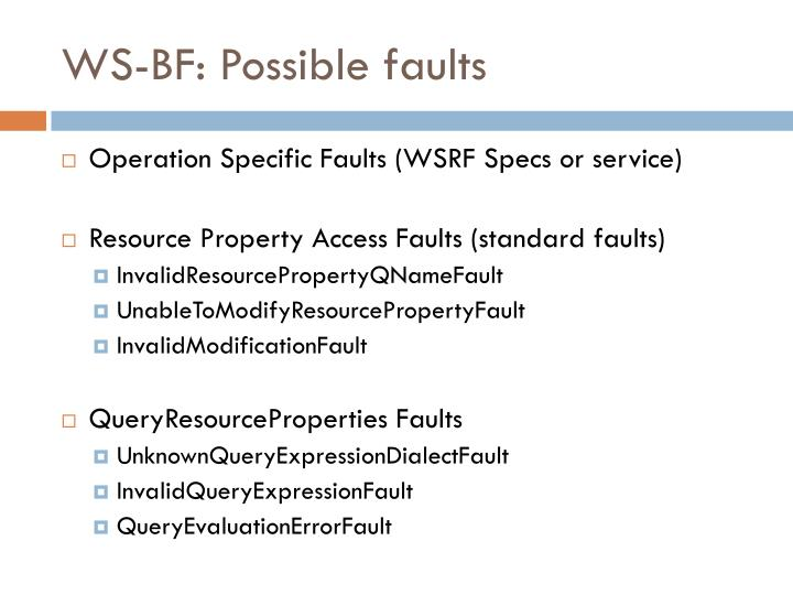 WS-BF: Possible faults