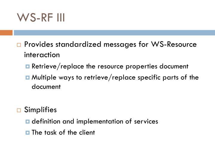 WS-RF III