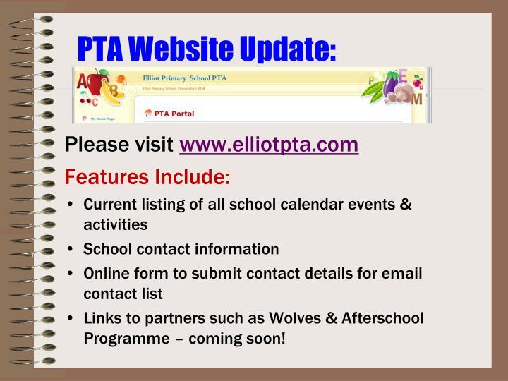 PTA Website Update: