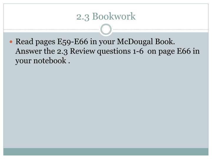 2.3 Bookwork