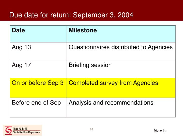 Due date for return: September 3, 2004