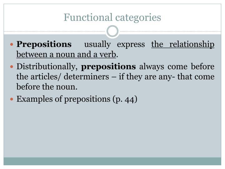 Functional categories