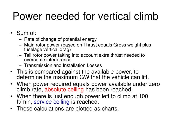 Power needed for vertical climb