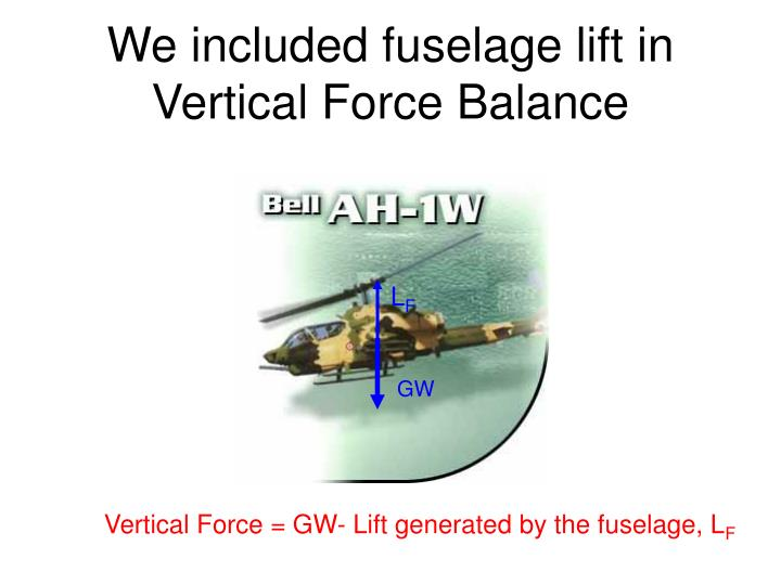 We included fuselage lift in