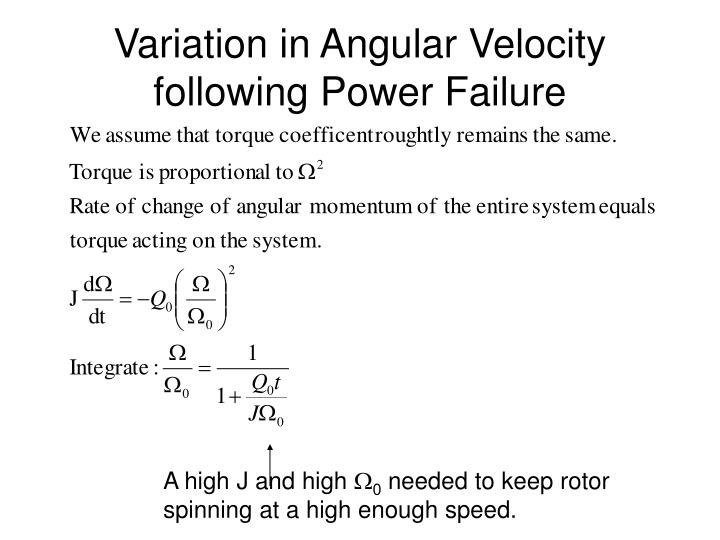 Variation in Angular Velocity following Power Failure