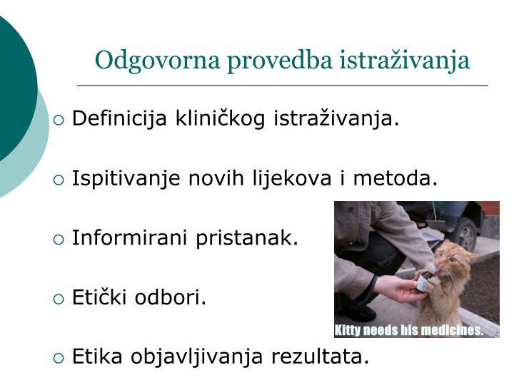 Definicija kliničkog istraživanja.