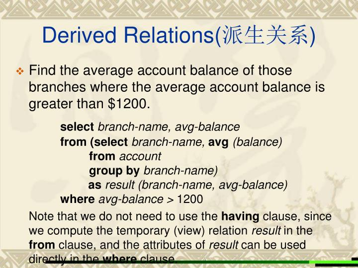Derived Relations(