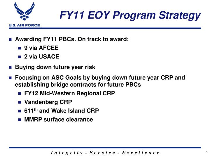 FY11 EOY Program Strategy