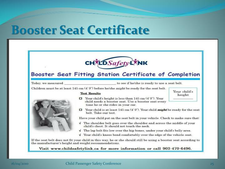 Booster Seat Certificate